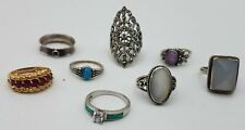 925 and Rubies, Opal, CZ, MOP Ring Lot TE909
