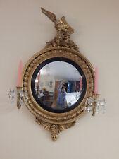 antique 1800's convex  girandole  mirror carved wood gilt crystal prisms Eagle