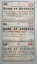 Bank of Augusta Obsolete Currency 10C, 25C and 50C Confederate Treasury Notes