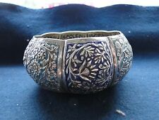 STERLING SILVER CHASED AND ENGRAVED BLUE ENAMEL BOWL, DATED 1900, INDIA  ANTIQUE
