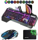 Gaming Keyboard and Mouse set Wired RGB Backlit Mousepad for PC Laptop Xbox PS4
