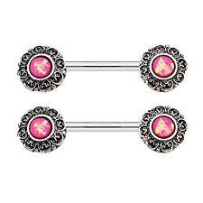 14G (1.6mm) 0Nipple Piercing Bar Tribal Created-Opal Body Piercing