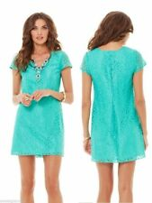 LILLY PULITZER $238 Erica Metallic Seafoam Lace Overlay Lined Shift Dress Size L
