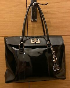 Genuine black patent leather stylish bag