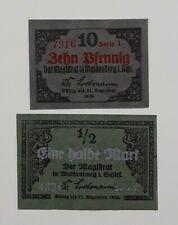 Waldenburg (Schlesien)  10 Pfg. + ½ Mark  Serie I  Original Scheine !! -31.12.19