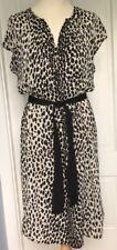 New Talbots Leopard Dress Black Under Slip / Black Grosgrain Belt sz 12