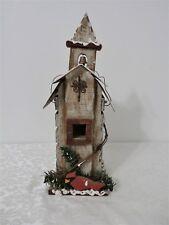 """Ganz Wooden Church Birdhouse W/ Cardinal Metal Roof 13 1/4"""" Tall Christmas"""