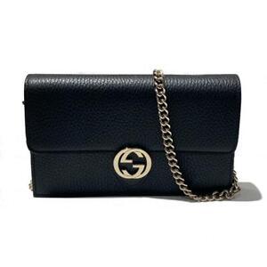 GUCCI Interlocking G Chain Wallet Clutch crossbody Bag 510314 leather Black Used