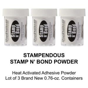 Stampendous Discontinued Stamp N' Bond Heat Activated Adhesive Powder Lot of 3