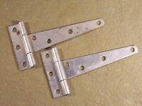 Vintage Pair T Strap Hinges Old Hardware Rustic Barn Door Shed Gate Cabin  NOS
