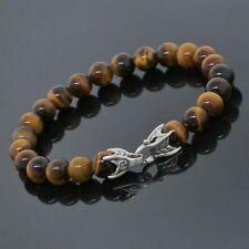 "David Yurman Sterling Silver 8mm Tiger Eye Spiritual Beads Men Bracelet 8.5"""