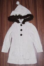 Girls - BABY GAP - Fur Hooded Button Front Cream Knit Sweater Coat Jacket 4