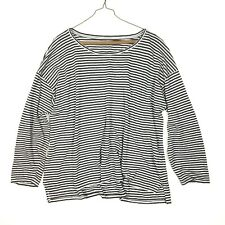 Eileen Fisher Sz L Linen Striped Long Sleeve T Shirt Blouse Drop Sleeve Black