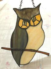 "Vintage Handmade Stained Glass Sun Catcher Window Art OWL 9.5"" long"