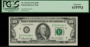 1974 $100 Federal Reserve Note - Cleveland - FR. 2167-D - Graded PCGS 63PPQ