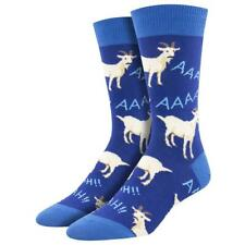 Socksmith Men's Crew Socks Screaming Goats Farm Animal Blue Novelty Footwear