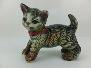 Vintage Tabby Kitten with Red Bow Figurine