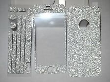 Silver Color Luxury Glitter Screen Protector + Full Body Sticker for iPhone 4 4S