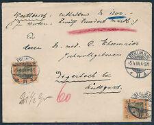 Dt. Reich 30 Pf. Germania MeF Wertbrief Berlin Degerloch 1904 geprüft (S12641)