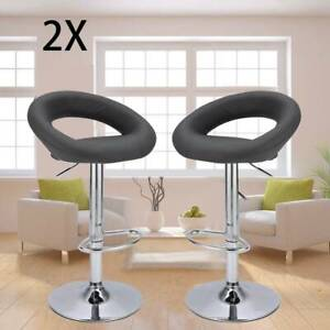 2 X Bar Stools Faux Leather Kitchen Breakfast Barstools Grey Gas Lift Swivel
