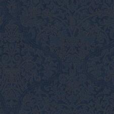 Wallpaper Designer Large Blue Damask on Dark Blue with Gold Ink Outline
