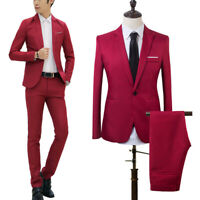 Men Slim Fit Formal Business Tuxedos Suit Blaze Coat Pants Party Wedding Prom