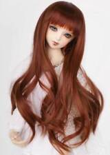 "1/3 8-9-10"" BJD Doll Wig Light Soft Red Brown Curly Curls Wavy Fluffy Hair Long"