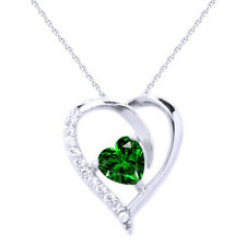 """Green Emerald Heart Pendant W/18"""" Chain 14K 14Ct White Gold Over Sterling Silver"""