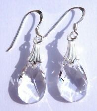 Sterling Silver CLEAR CRYSTAL Pear Teardrop Hook Earrings SWAROVSKI ELEMENTS+Box
