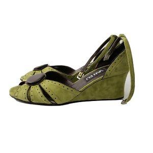 Van Eli 6.5 M women's shoes wedge heels ankle strap apple green dark brown suede