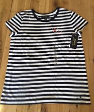 BNWT Girls Polo Ralph Lauren Tshirt 16 Years Top Stripes Blue And White