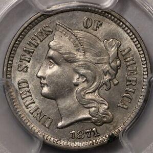1871 Three Cent Nickel PCGS AU-58, Original and Well Struck.