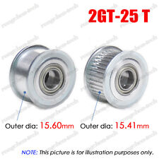 2GT 25T Idler Timing Pulley 3/4/5/6mm Bore W/Ball Bearing for 6/10mm Wide Belt