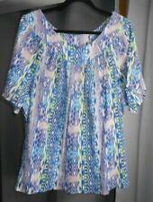 4X Sara Morgan Women's gauze top 100% cotton blue PURPLE GREEN  A22 SHORTER