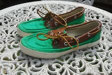 Unsiex Ralph Lauren Polo Green & Brown Canvas & Leather Deck Boat Shoes Uk 6