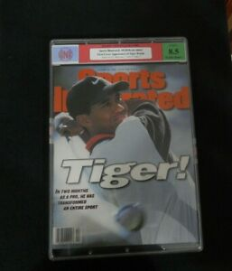 1996 Tiger Woods Sports Illustrated First Cover RC No Label Sports Newsstand Cor