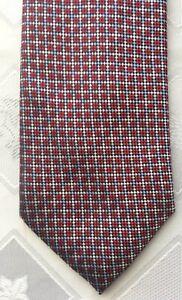 "BRIONI  Red Geometric 3.25"" Woven Silk Neck Tie Retail $275"