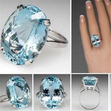 925 Silver Large New Fashion Oval Cut Aquamarine Ring Women Jewelry Gift SZ 6-10