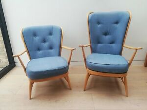 Vintage Mid Century Ercol Windsor Tall Back Easy Chair 478