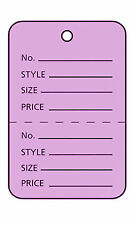 3000 Perforated Tags Price Sale 1 ¼ x 1 ⅞� Two Part Purple Unstrung Tag Small