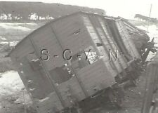 WWII German RP- Train Wreck- Off Tracks- Railroad- Crushed Wooden Boxcar- 1940s