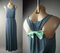 Navy Blue Pastel Stripe Nautical Resort Bow Back Long Maxi 137 mv Dress S M L