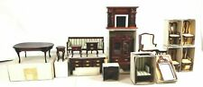 New 16 pieces Vintage Rare Mahogany Color Wood Dollhouse Furniture