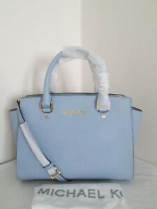 NWT Michael Kors Selma Pale Blue Medium Saffiano Leather Satchel Bag