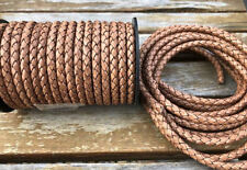 6mm Bolo Braided Leather Cord Antique Light Brown Genuine Quality Leather