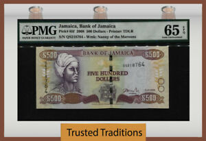 TT PK 85f 2008 JAMAICA BANK OF JAMAICA 500 DOLLARS PMG 65 EPQ GEM ONLY ONE FINER