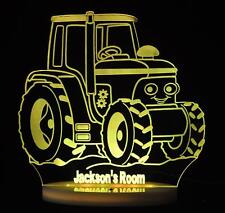 TRACTOR PERSONALISED NAME LED NIGHT LIGHT 13 x COLOURS BOYS, KID'S & BABY ROOM