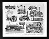 1874 Bilder MachineTechnology Print - Steam Engine Cars Tractors - Ice Sled