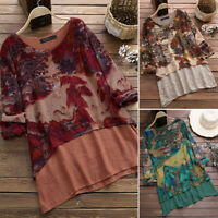 ZANZEA Women's Round Neck Casual Shirt Tops Loose Floral Print Blouse Plus Size