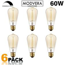 Modvera 60W Filament Amber Glass Edison Light Bulb Dimmable Warm White - 6 Pack